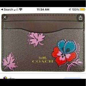 Coach NWT oxblood wildflower print card case